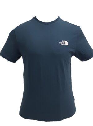 The North Face T-shirt avio cotone 100% mini-logo avanti e dietro