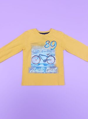 T-shirt manica lunga cotone giallo