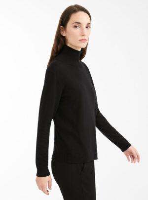 Dolcevita in filato di seta e lana nera