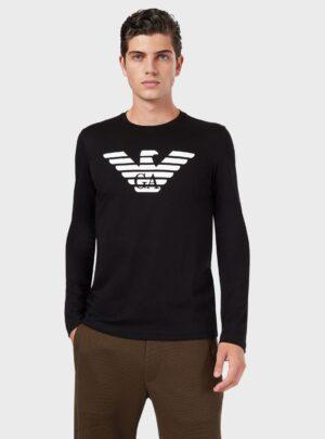 T-shirt a maniche lunghe in jersey di cotone pima con logo stampato