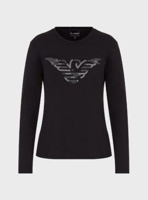 Maglia in jersey con stampa aquila a caviale