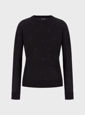 Maglione in misto lana vergine con monogram ricamato