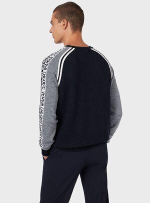 Maglione in misto lana piquet con maxi aquila jacquard