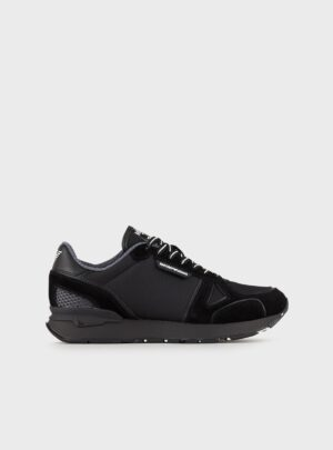 Sneakers in suede e mesh a tono