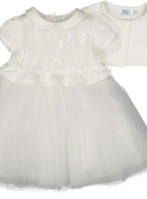 Abito bianco in tulle+coprispalle 03-12 mesi bimba Melby