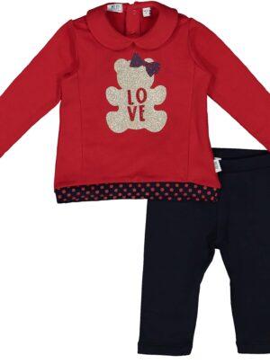 Completo leggings rosso/blu 06-36 mesi bimba Melby