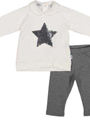 Completo leggings bianco/grigio 06-36 mesi bimba Melby