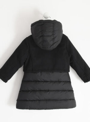 Elegante giubbotto con cappuccio mix fabric per bambina da 3 a 7 anni Sarabanda