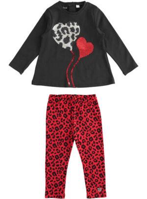 Completo in jersey pesante invernale maglietta con cuori di paillettes e leggings per bambina da 3 a 7 anni Sarabanda