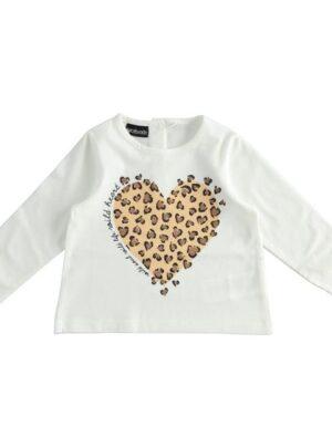 Maglietta girocollo con cuore animalier per bambina da 3 a 7 anni Sarabanda