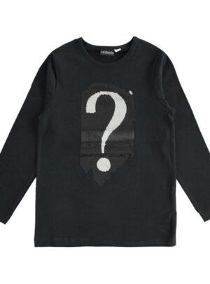 Maglietta girocollo con punto interrogativo di paillettes per bambina da 8 a 16 anni Sarabanda