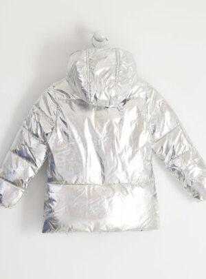 Giubbotto in tessuto metalizzato silver per bambina da 8 a 16 anni Sarabanda