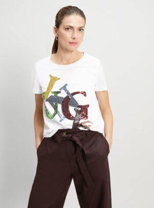 T-shirt con ricamo di paillettes