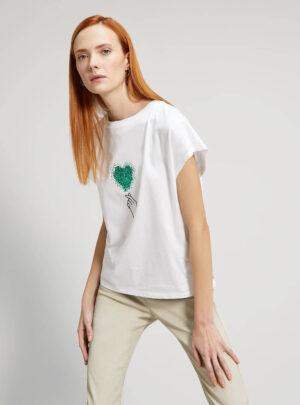 T-shirt con cuore di paillettes