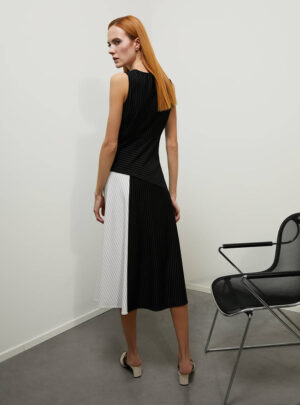 Midi dress in jersey gessato
