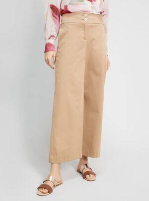 Pantaloni ampi in raso di cotone
