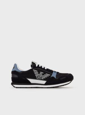 Sneakers in mesh con inserti in pelle scamosciata