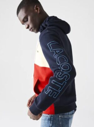 Felpa da uomo con zip, cappuccio e motivo color block