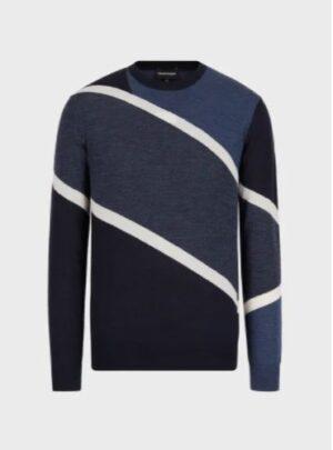 Maglione in lana vergine con intarsio color block