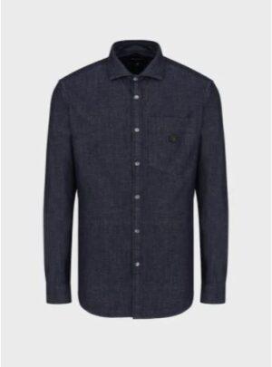 Camicia in denim con taschino e patch logo